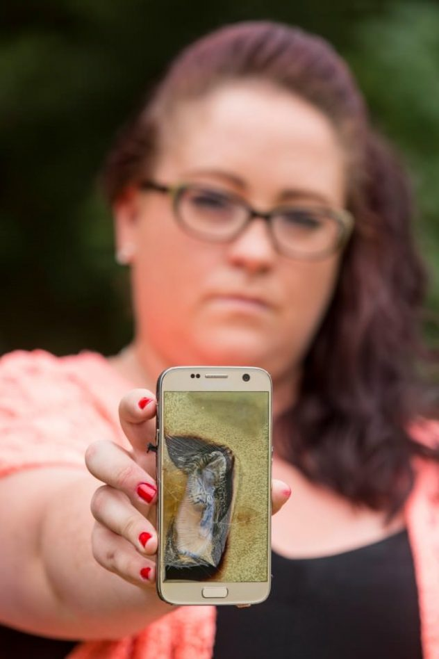 10th September 2016 Sarah Crockett from Silver End in Essex - her Samsung Galaxy S7 phone exploded while she was out having dinner with her husband